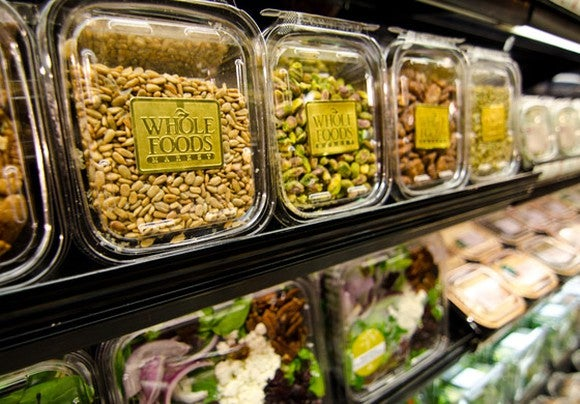 A selection of nuts and salads at Whole Foods