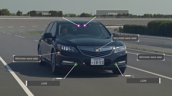An annotated photo showing the locations of various sensors on Honda's highway self-driving demonstration car.