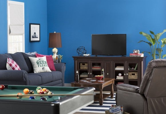 Game room decorated with Wayfair goods