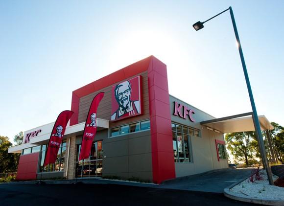 The exterior of a KFC restaurant.