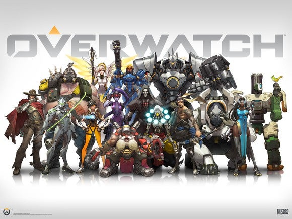 """""""Overwatch"""" artwork depicting all characters standing together with """"Overwatch"""" title in grey in the background."""