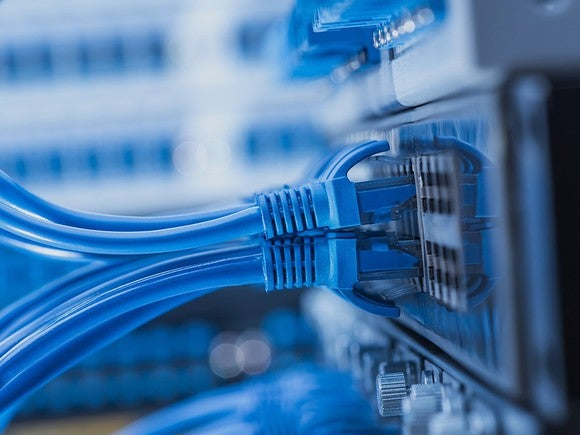 Up close picture of networking cables.
