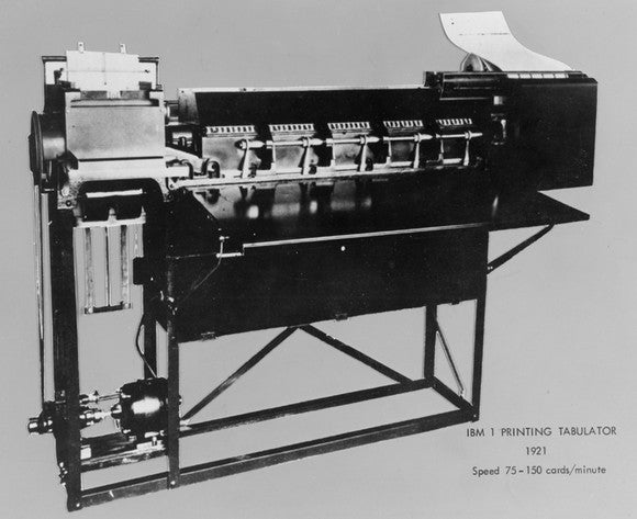 An IBM Printing tabulator machine.