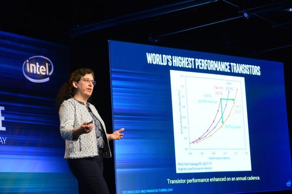 An Intel technologist talking up the company's leadership in transistor technology.