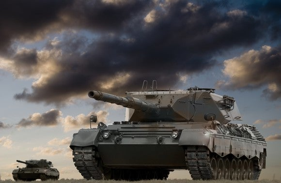 Tanks under clouds