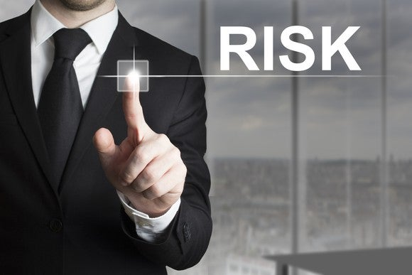Businessman pointing with RISK on screen