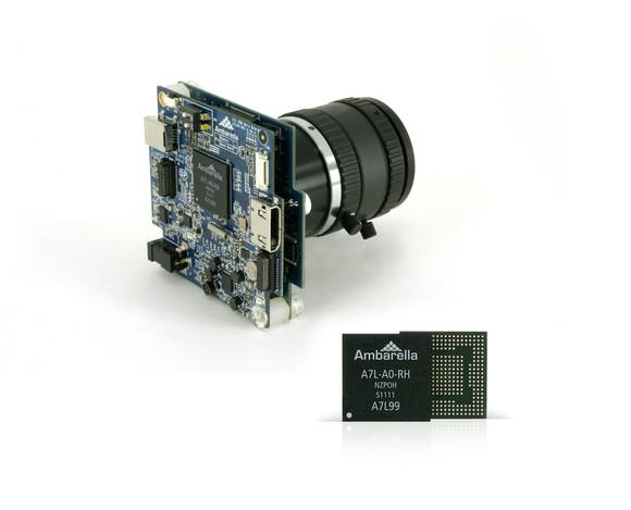 An Ambarella chip attached to a camera.