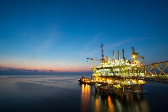 Oil production platform at night