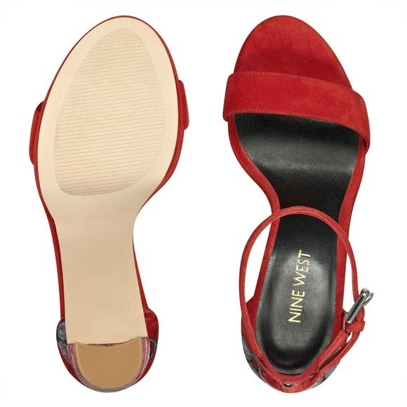 A red pair of Nine West women's shoes.