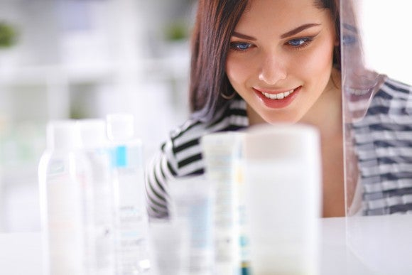 A woman shops for beauty products.