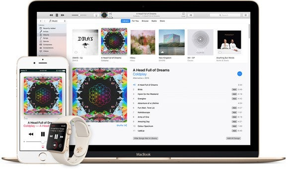 Apple Music on the iPhone, Apple Watch, and MacBook.