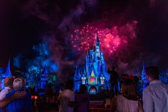 Onlookers enjoy the nightly Walt Disney World fireworks display over Cinderella Castle.