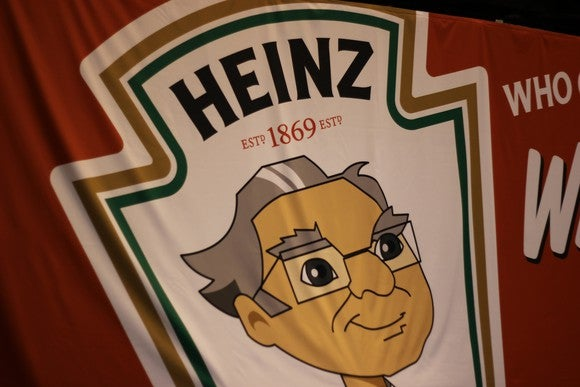 Heinz logo with Warren Buffett cartoon face