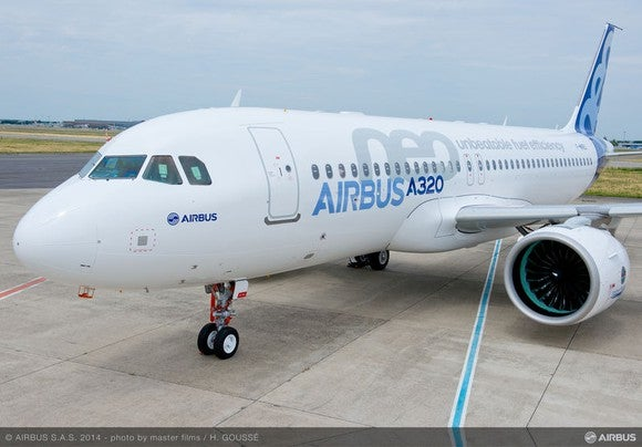 An Airbus A320neo on the ground, as seen from the front.