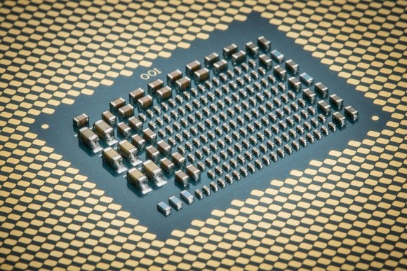 The bottom of an Intel processor.
