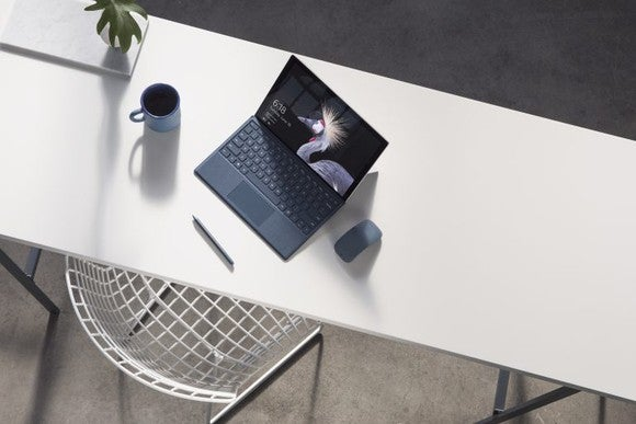 One of Microsoft's new Surface Pro machines sits on a desk.