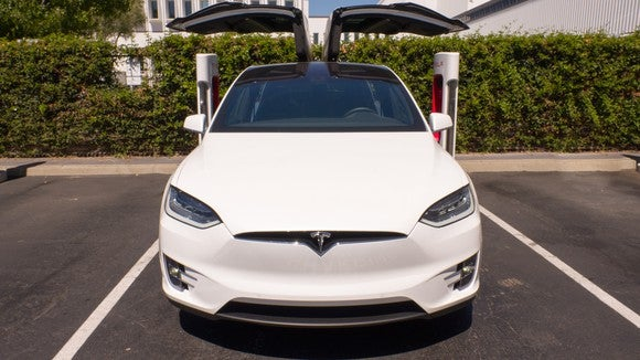 Tesla Model X with falcon wing doors