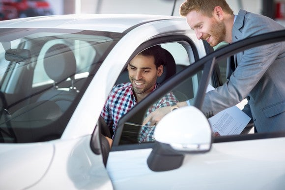 Car shopper with sales manager.
