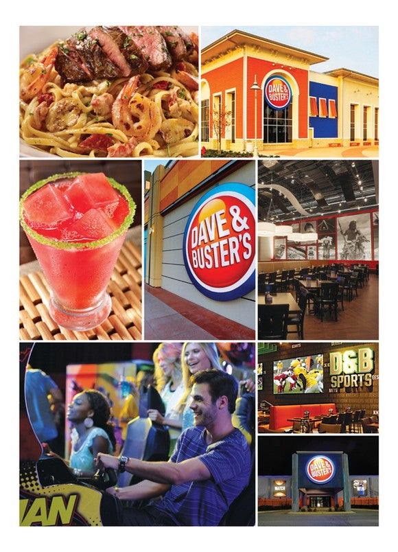 A collection of food, drink and gaming images from Dave & Buster's