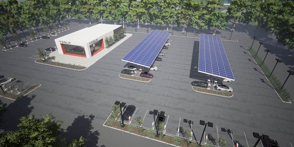 Rendering of a Tesla Supercharger station with a customer center