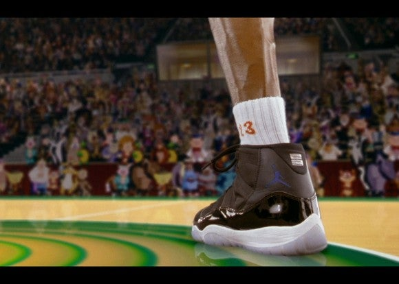 A scene from the Space Jam movie showing Michael Jordan's shoe.