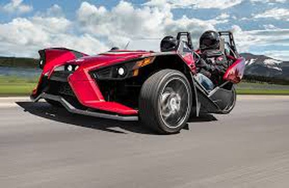 Red three-wheeled Slingshot motorcycle