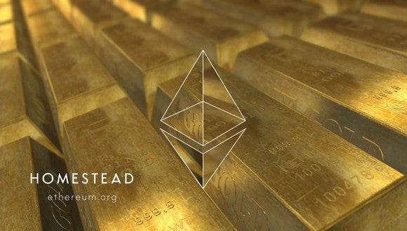 Ethereum logo against a background of gold bars.