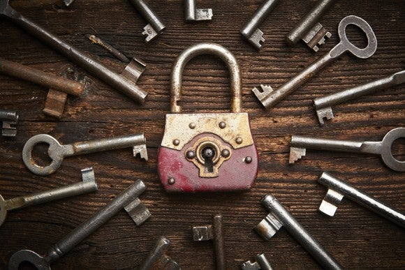 A lock surrounded by many keys