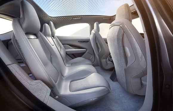 The rear seats of the Jaguar I-PACE Concept.