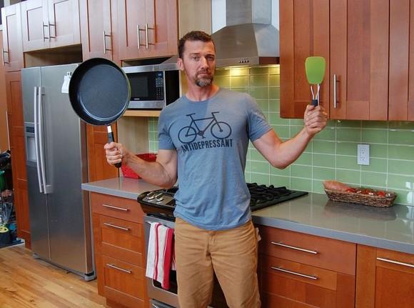 Pete Adeney in his custom-built kitchen