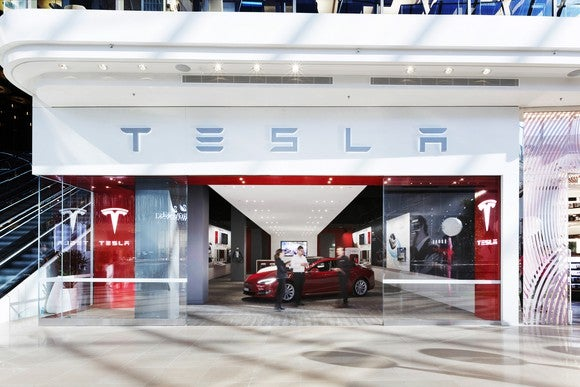 Front of a Tesla store