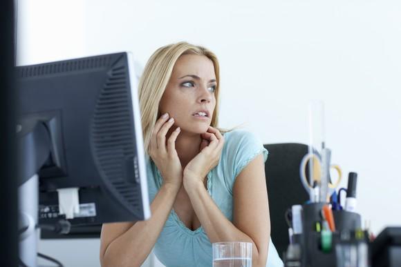 Woman nervous at job