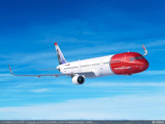 A rendering of a Norwegian Air A321LR.