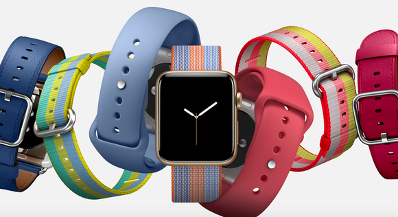 Several different styles of Apple Watches.