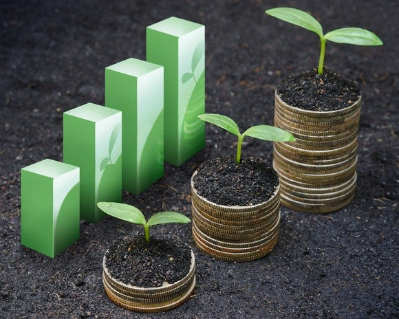 Increasing bars, growing plants, and rising stacks of coins.