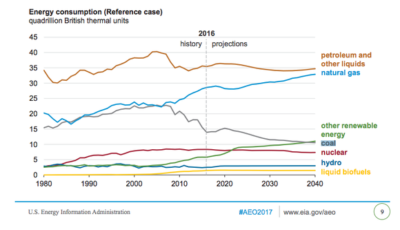 Energy Information Administration electricity fuel projections showing coal remains important in the fuel mix at least through 2040.