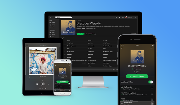 Spotify's app running on two smartphones, one tablet, and a desktop computer