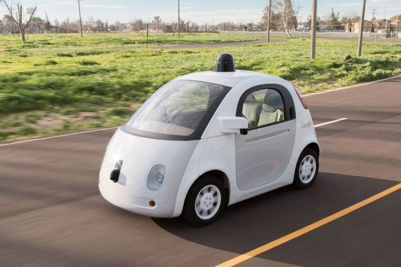 """A self-driving """"panda"""" test vehicle built for Google's Self-Driving Car Project in 2014"""