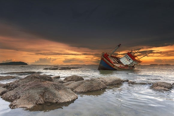 A shipwreck at sunset.