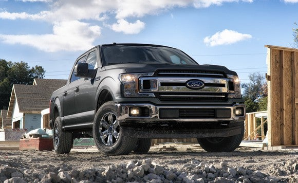 A 2018 Ford F-150 pickup on a construction site