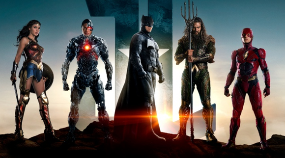 "The characters of ""Justice League"": Wonder Woman, Cybord, Batman, Aquaman, and the Flash."