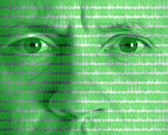 Digital data on a human face.