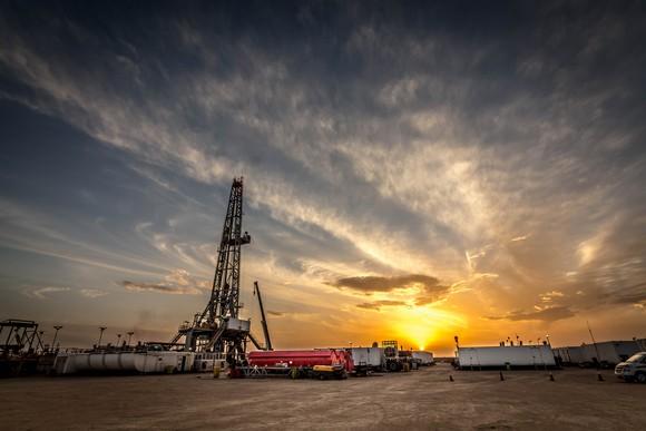 drilling rig at sundown