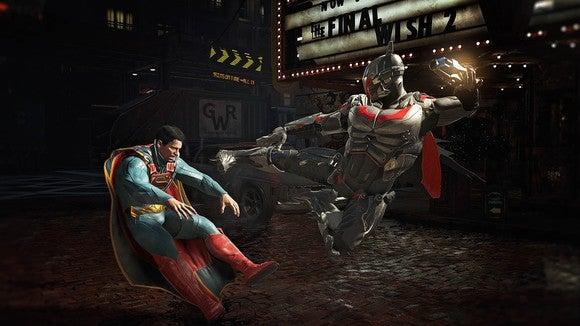 "Batman kicking Superman in Time Warner's ""Injustice 2."""