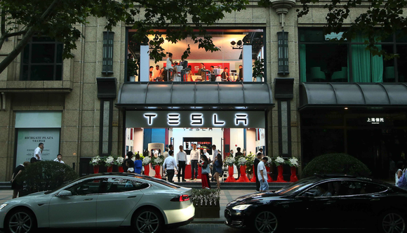 The exterior of a Tesla store in China.