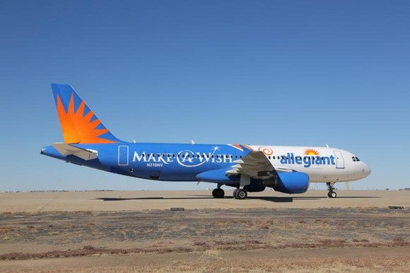 An Allegiant airplane on the ground.