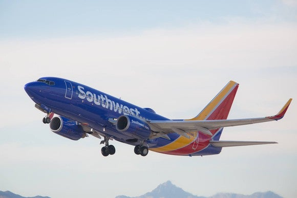A Southwest airplane taking off.