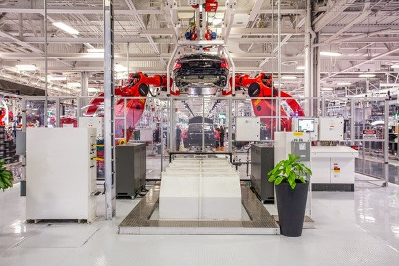 An assembly line inside Tesla's factory in Fremont, California