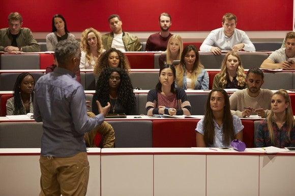 College students in a lecture classroom