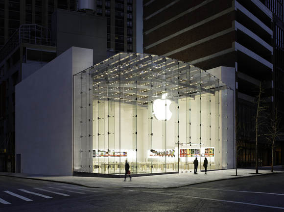 The outside of the Apple Store in the Upper West Side of New York City.